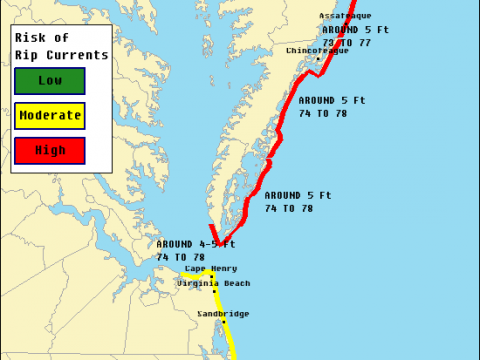 Delaware Beaches will also see the same HIGH risk for rip currents.