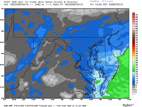 Numerical model guidance shows winds of 20 knots along he beaches by Friday afternoon with gusts to 30 knots at times.