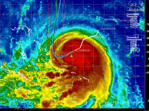 Joaquin now has an eye. Imagery from CIMMS/NOAA/Goes East