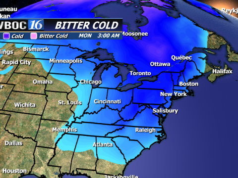 Cold air in the mid-levels of the atmosphere slip down with the advancement of an upper level trough.
