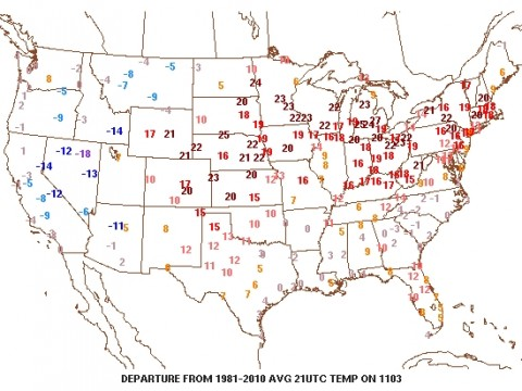 Look how far above average the temperatures were over much of the U.S. today.