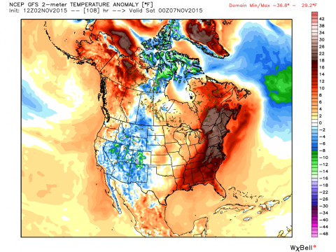 Prediciton of 2m Temperature Anomaly for Friday at 1pm. Image Courtesy: WeatherBell LLC.