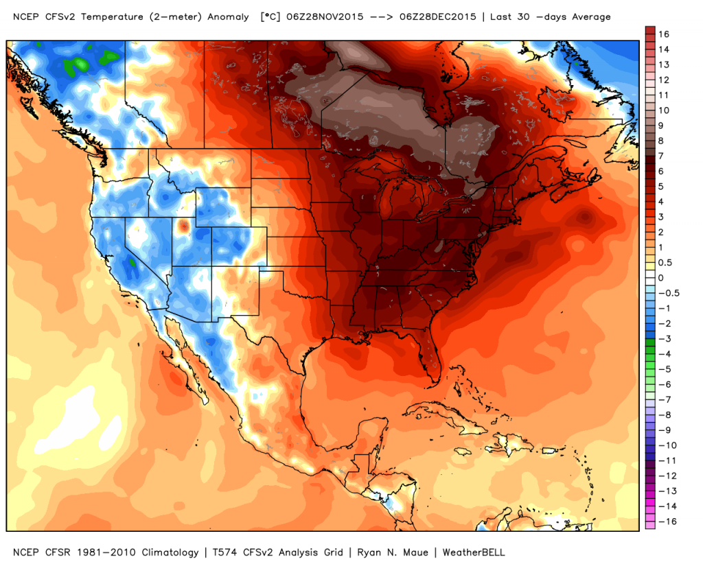 Temperature anomalies over the last 30 days. It was record warm over the entire Eastern U.S.