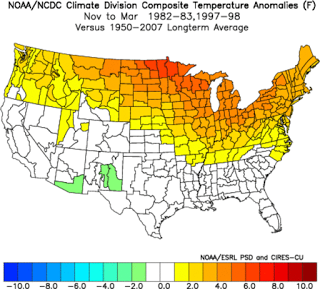 This map shows the observed temperature anomalies during very strong El Nino events.