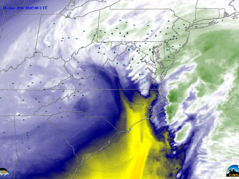 IR imaghery of the blizzard last weekend. This image shows clouds and water vapor. Yellow areas are showing dry air in the mid troposphere and are areas of sinking motion.