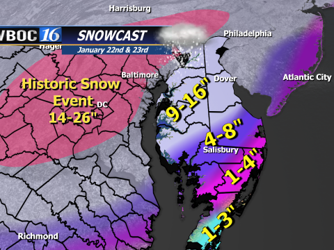 Snow Forecast updated at 8 PM EST Friday 22 Jan. 2016.