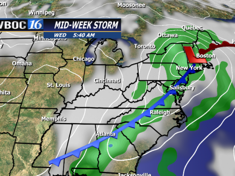 Stronger front brings a chance for showers and a couple rumbles of thunder Wednesday.