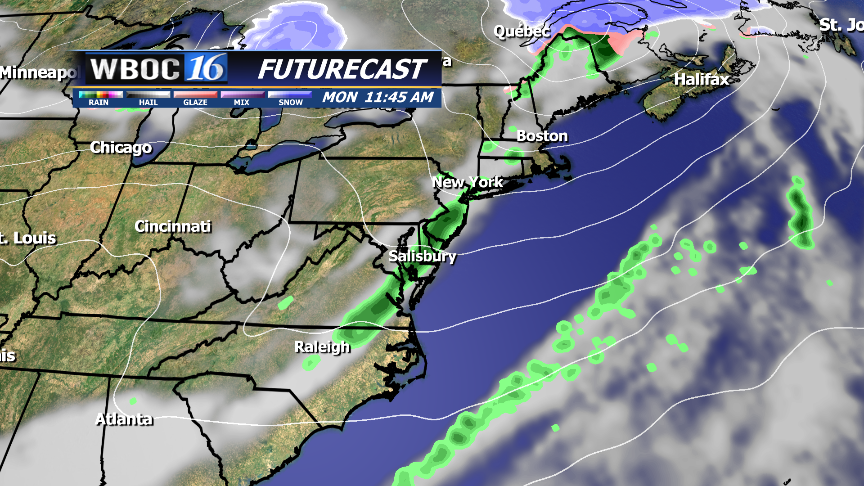 Weak front brings extra clouds and a slight chance of a shower for Monday.