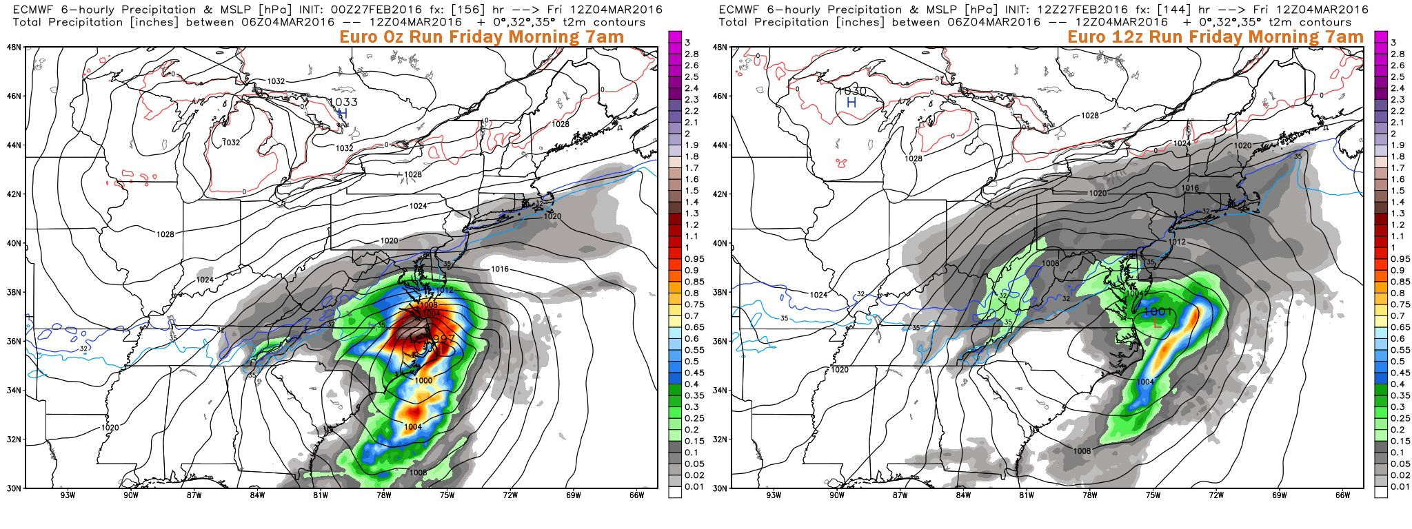 Comparison of last two ECMWF Model Runs for Friday Morning at 7am. Image Courtesy: WeatherBell LLC.