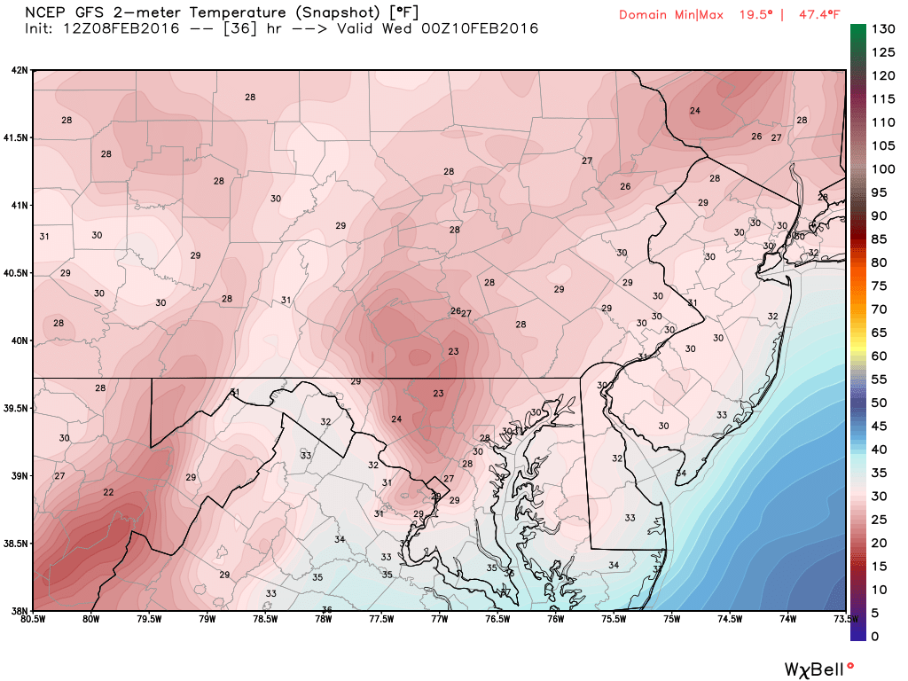GFS surface temperature forecast for Tuesday at 7pm. Image Courtesy: WeatherBell LLC.