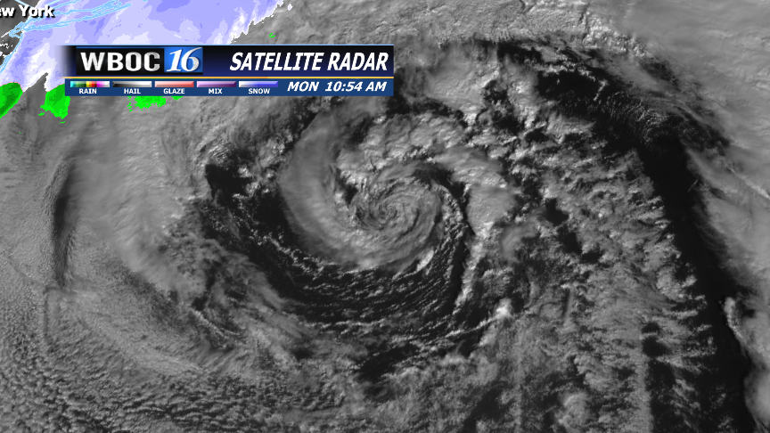 Visible satellite image of the low in the Atlantic.