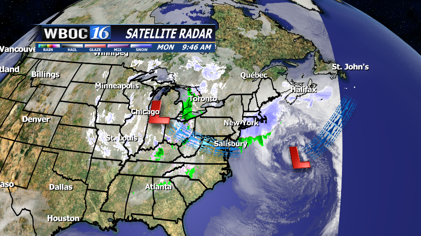 Current surface map shows the low off the coast and the second low moving in from the Great Lakes.