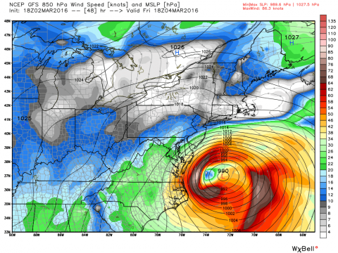 Raw numerocal model guidance for Friday shows an intense low off the coast.