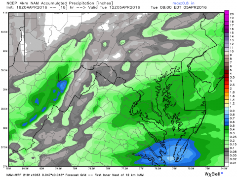 Rainfall overnight will exceed .4 inches over southern Delmarva. This is raw model guidance from the 4KM NOAA model.