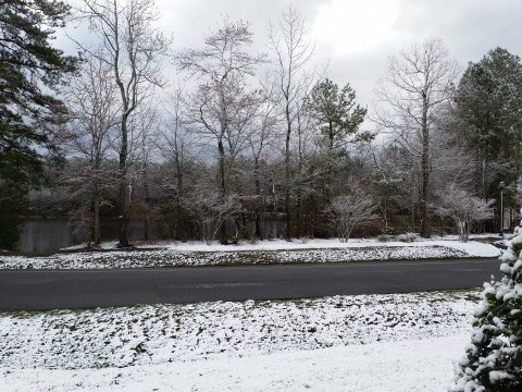 A High of 73 yesterday and then we wake up to snow! This image from WBOC Weather Watcher Gene Edge in Ocean Pines, MD.