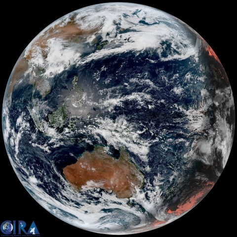 Full disk view in true color from the Japanese Himawari Weather Satellite. It was taken early this morning on this 46th Earth Day.