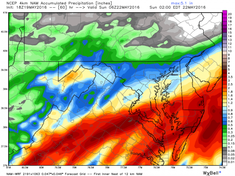 This is one model from  NOAA indicating over 2 inches of rain on Saturday. Other models are not quite as heavy, but over an inch is likely in many areas.