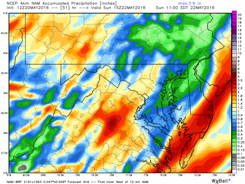 This NOAA model early Friday shows over two inches of rain over southern areas of Delmarva.