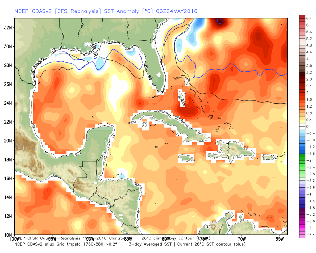 Water temps. are running well above normal for late May in the Western Caribbean.