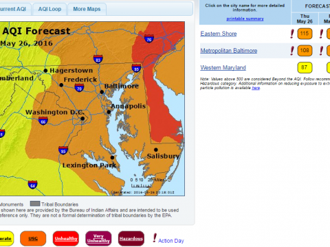 From AirNow Maryland.