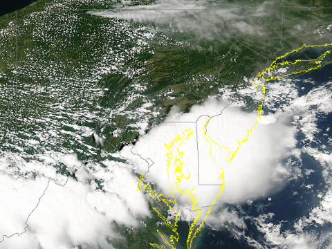 From the NASA Aqua Satellite. The storms  exploding over Delmarva are clearly visible.