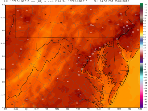 temp. forecast for 2 PM Saturday from the NOAA WRF model. It will be warmest on the west side of Delmarva and the coolest areas will be on the beaches.