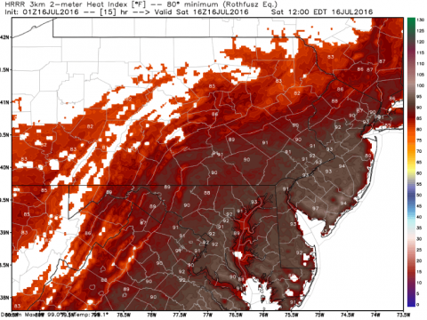 Heat index forecast for Noon Saturday from NOAA HRRR model. I suspect this will be very close.