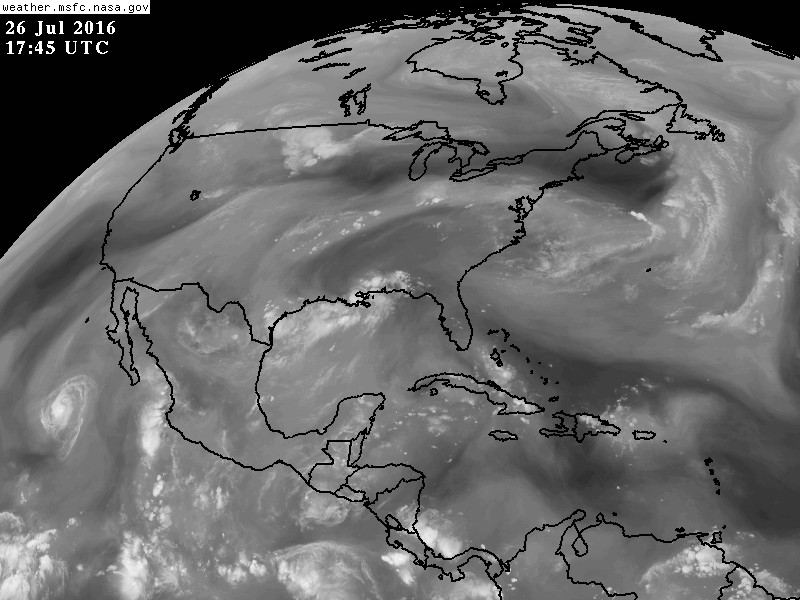 This is water vapor imagery- (gray areas are moist air). YOu can see a connection of moisture from the tropical Pacific all the way tot he East coast fo the U.S. This is adding to our rainfall. You are looking at moisture at high levels in the troposphere (6-10km)
