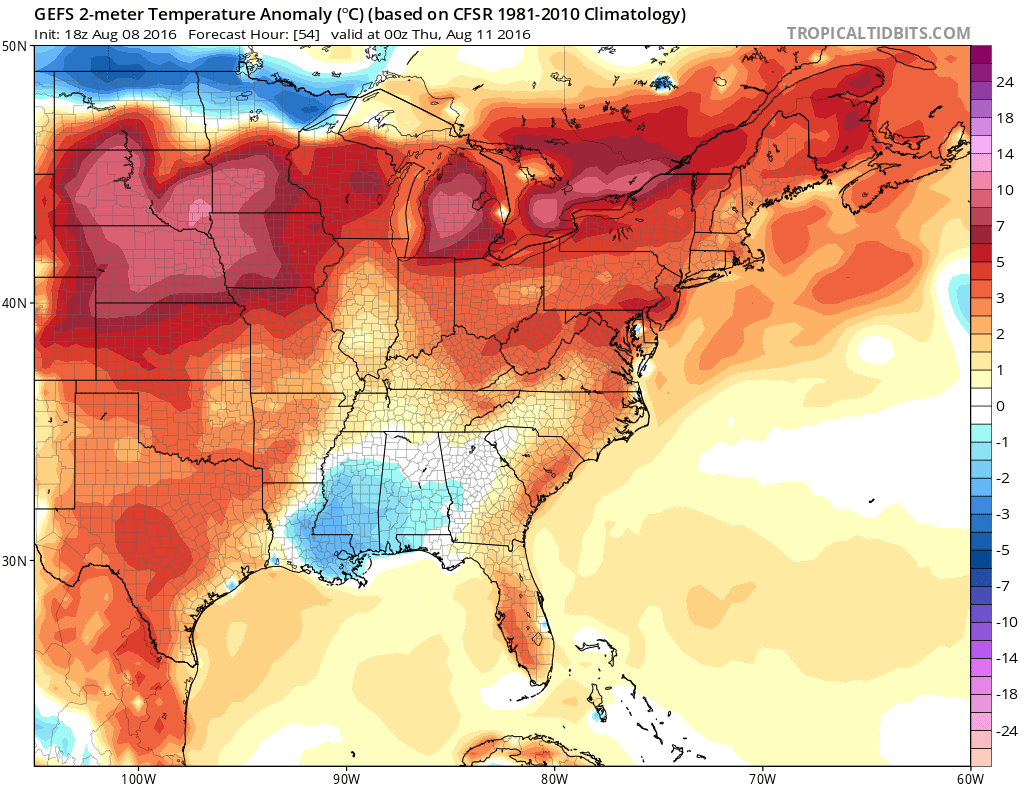 Model guidance late int he week shows well above average temps. from  #C0890B