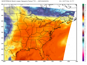 Dew points above 70 cover the entire eastern U.S. and have even edged into Canada. This is extremely muggy air.