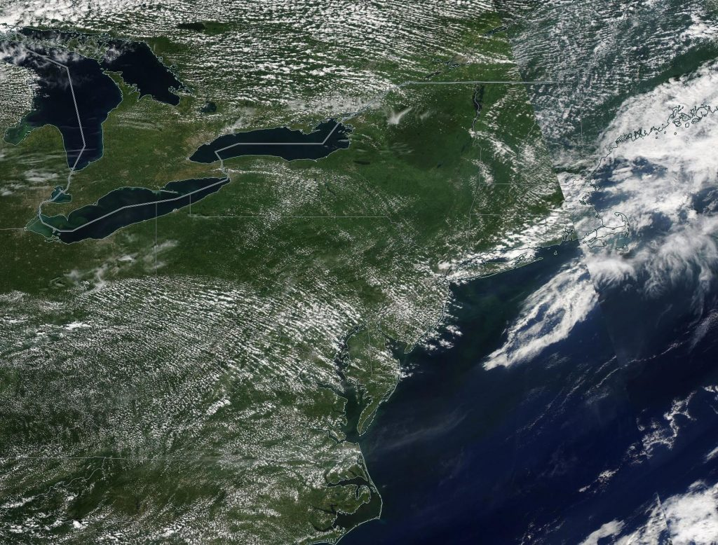 Aqua satellite view of the NE U.S. on Friday afternoon.