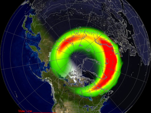 The current aurora is still well north of the U.S. but there is a chance it will drift south tonight if the magentic storm strengthens.