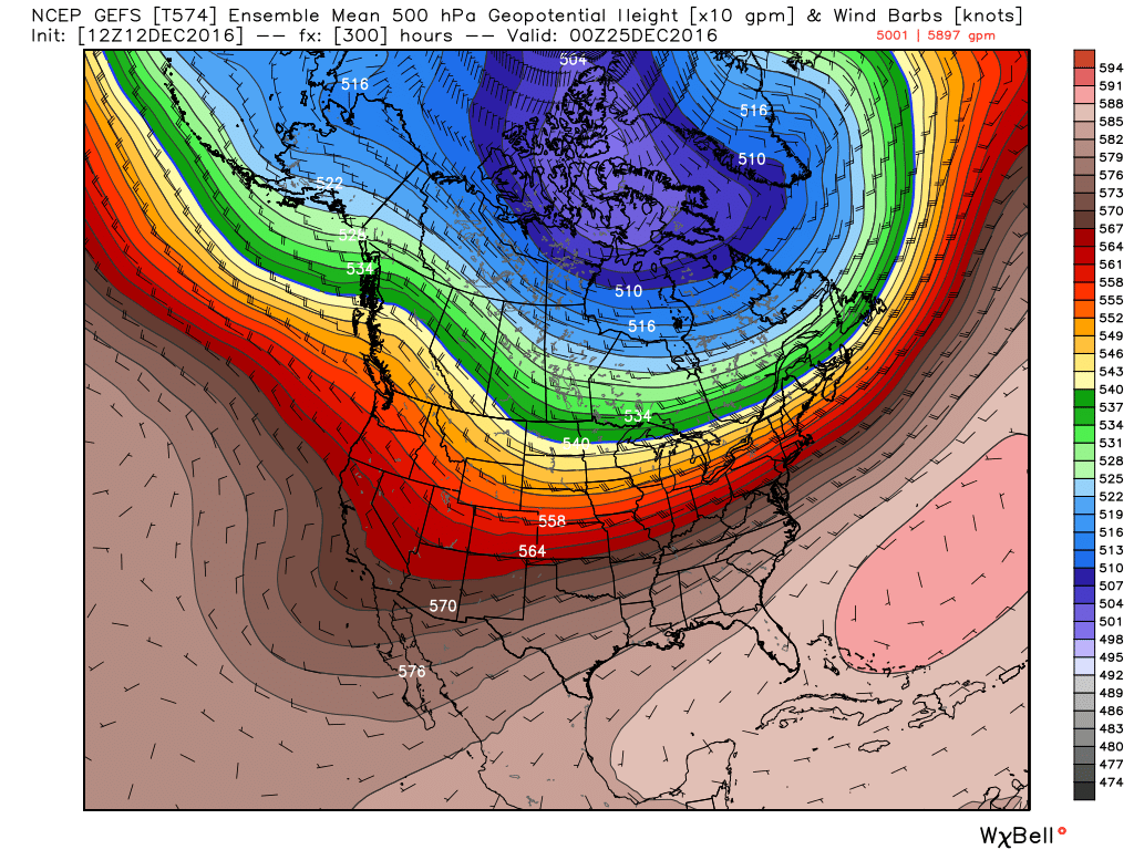 Long range gudiance for late November shows a strong westerly wind flow over Nroth America. This should allow milder air to reach the eastern U.S. It will be rather cold near the Canadian Border.