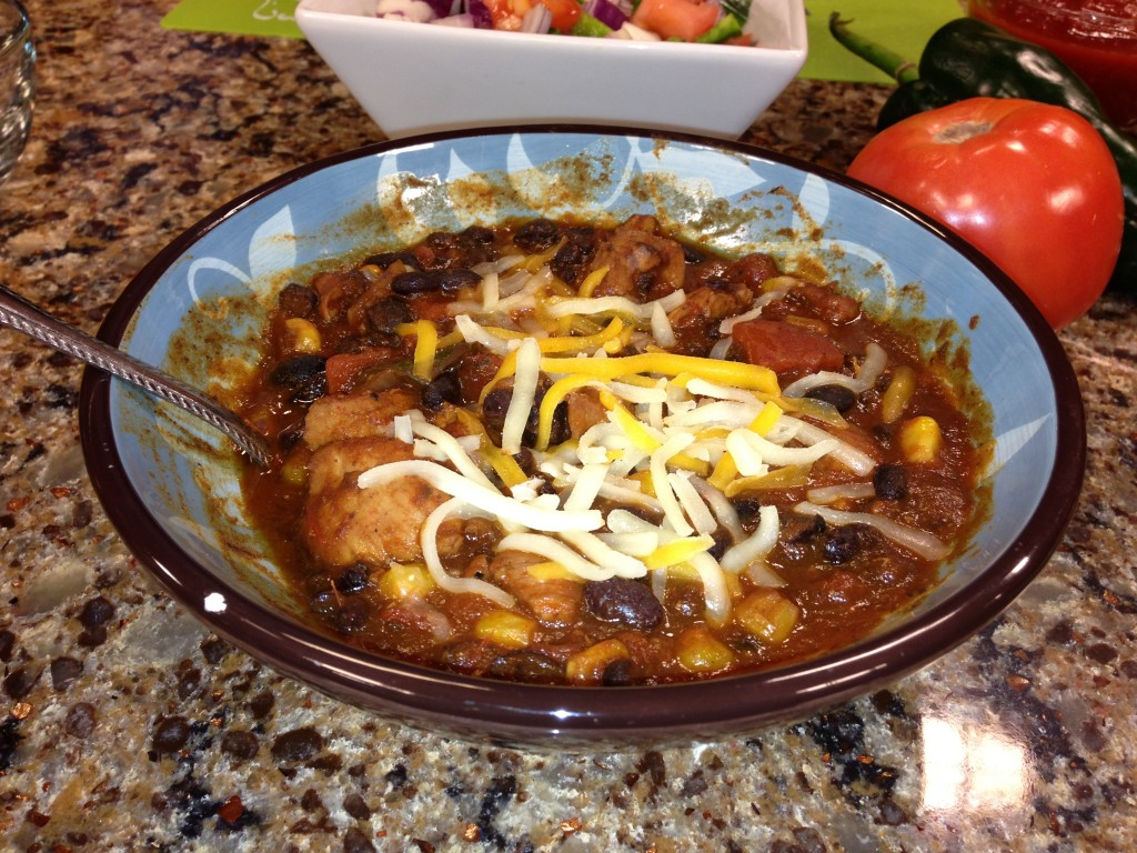 Poblano Black Bean Chili with Avocado Crème
