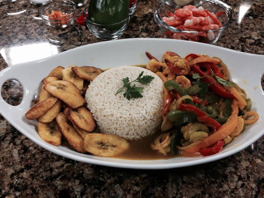 Curry Shrimp over White Rice & Veggies with Caribbean Flava