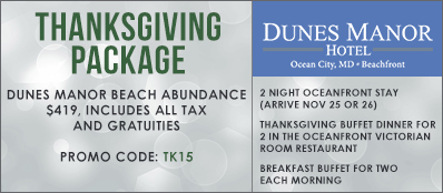 Dunes Manor Hotel Promo Code: Thanksgiving Package