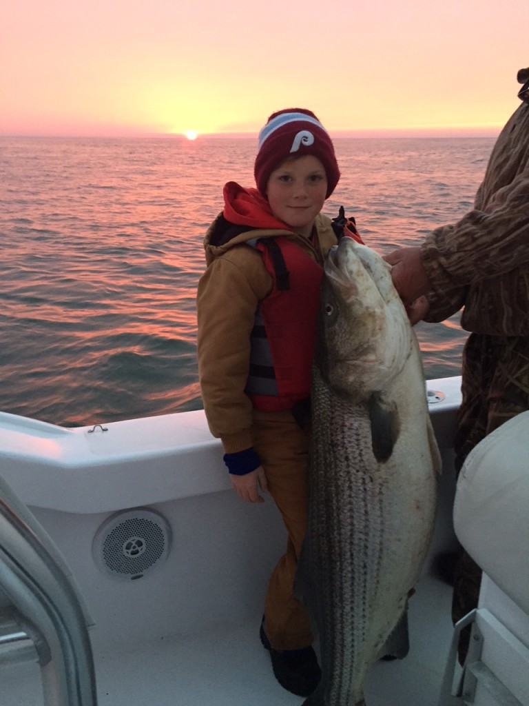 9-Year-Old Catches Huge Striped Bass in Lewes, Del.
