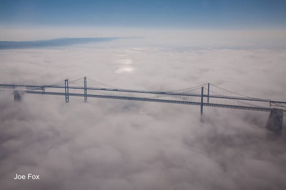 Aerial Photography: Chesapeake Bay Bridge December Fog