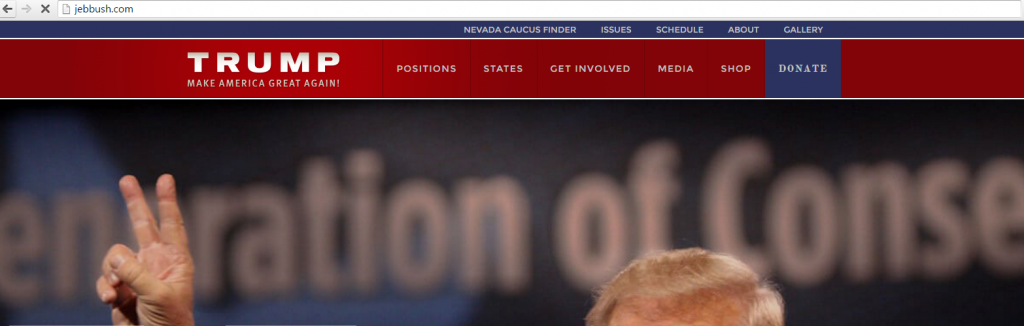 JebBush.com Trumped: Redirects to DonaldJTrump.com