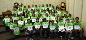 Group photo of all of the student participants in Saturday morning's 2016 Maryland Eastern Shore Regional Spelling Bee. (Photo credit: Joey Gardner)