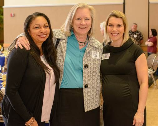 Yvonne Terry of Salisbury Horizons, Maureen McNeil of Coastal Hospice and Amy Luppens of United Way of the Lower Eastern Shore gather for a photo prior to the 71st United Way Annual Meeting.