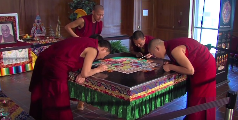 Tibetan Monks at Salisbury University Painting a Mandala