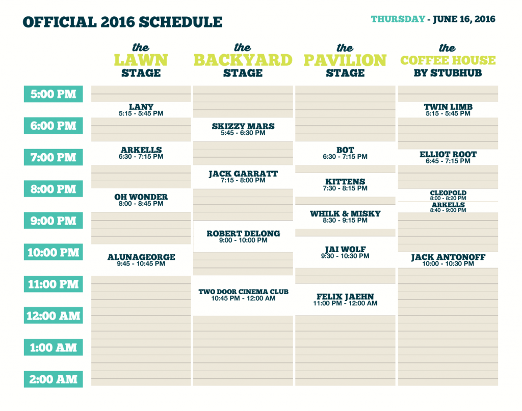 2016 schedule deutschtown music festival firefly 2016 for Rtu time table 4 th sem 2015