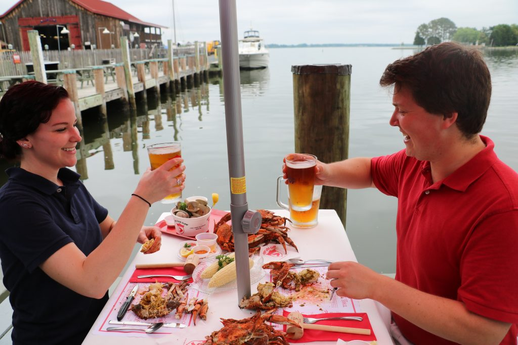 Fresh crabs and local beer are a crowd favorite at The Crab Claw Restaurant (Photo: Lauren Hollowa)