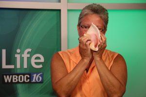 Award-winning conch shell player Jayne Challman playing us a tune