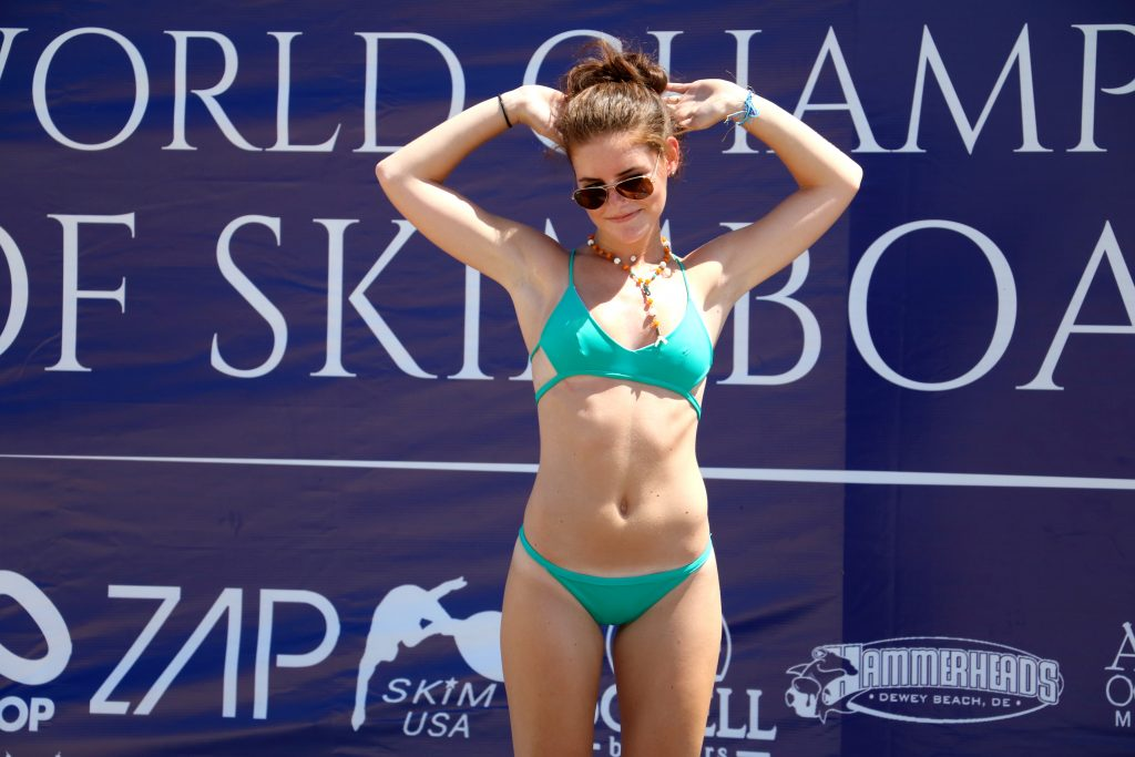 Bare Native LLC model poses during bikini fashion show (Photo: Lauren Holloway, WBOC)