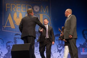 Secretary of Defense, Ashton B. Carter recognizes Military Reservist Employers at the DoD Freedom Awards, August 26, 2016 in the Pentagon Auditorium. (U.S. Army photo by Sgt. Ricky Bowden)