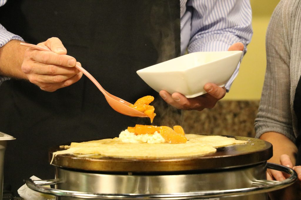 Peaches and Sweet Cream Crepe and the King Cole Cannery Celebrity Chef Cook-Off in Milton, Del.