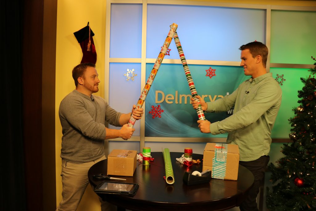 Sean and Corey with WBOC 102.5 Go Head-to-Head in a Gift Wrapping Challenge