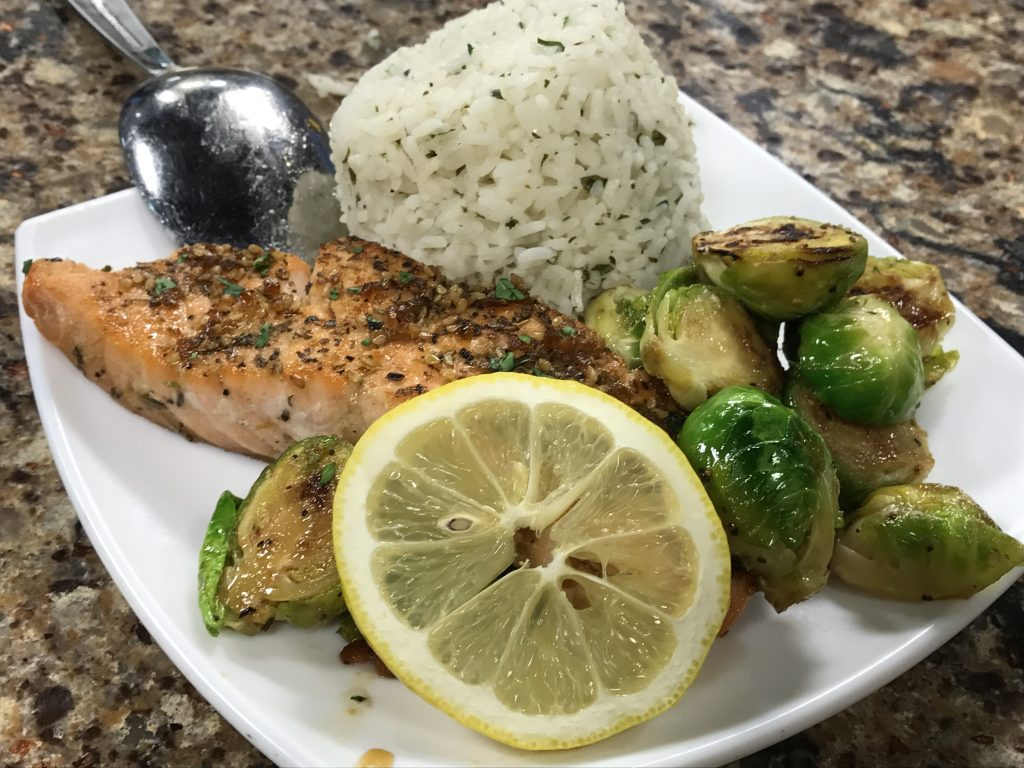 Salmon Teriyaki with Brussels Sporuts and Rice with Vittles Food Truck